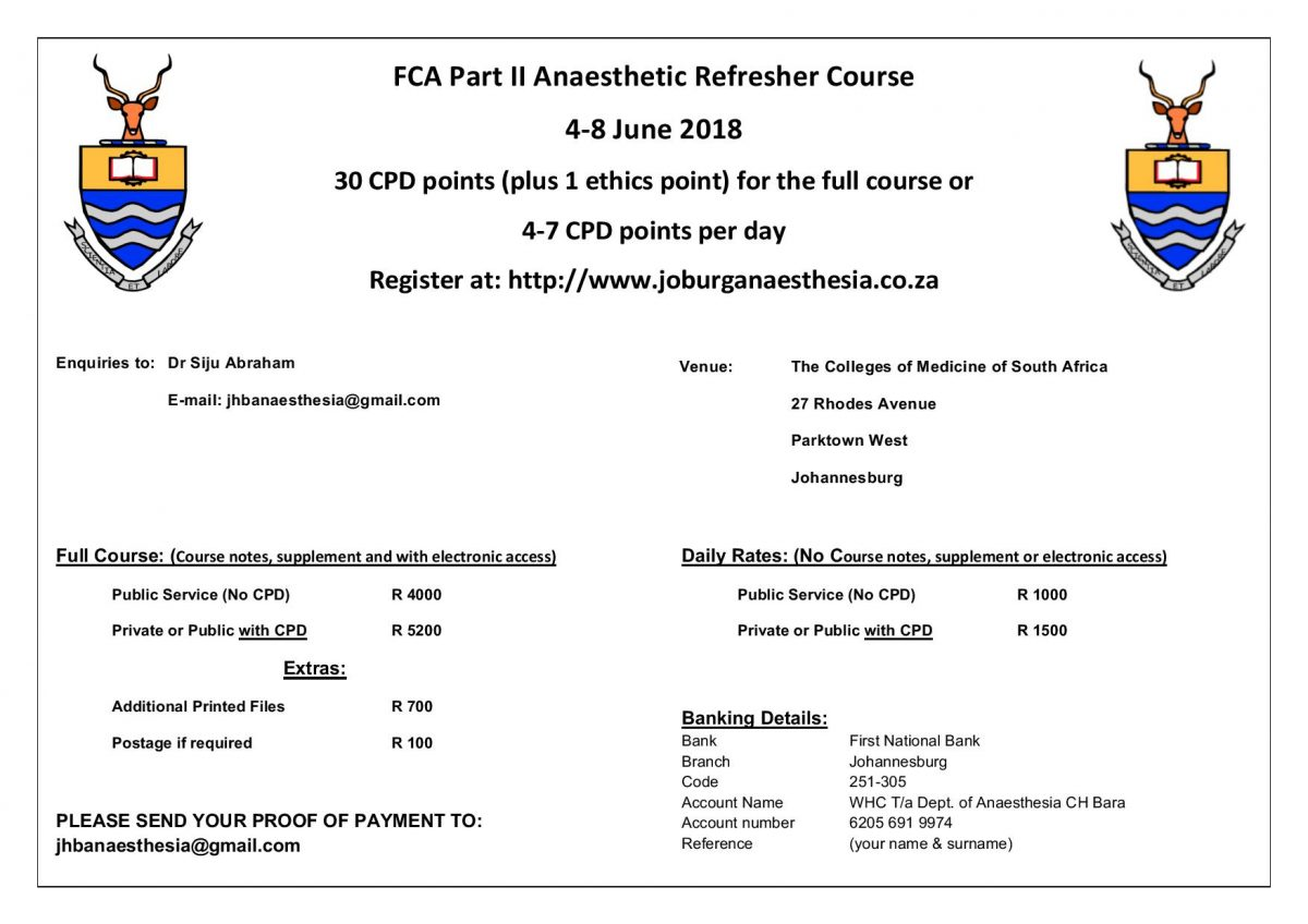 2018 FCA2 Refresher Course registration is now open!